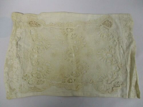 """ANTIQUE COTTON BABY PILLOWCASE with CUTWORK & LACE 9"""" x 14"""""""