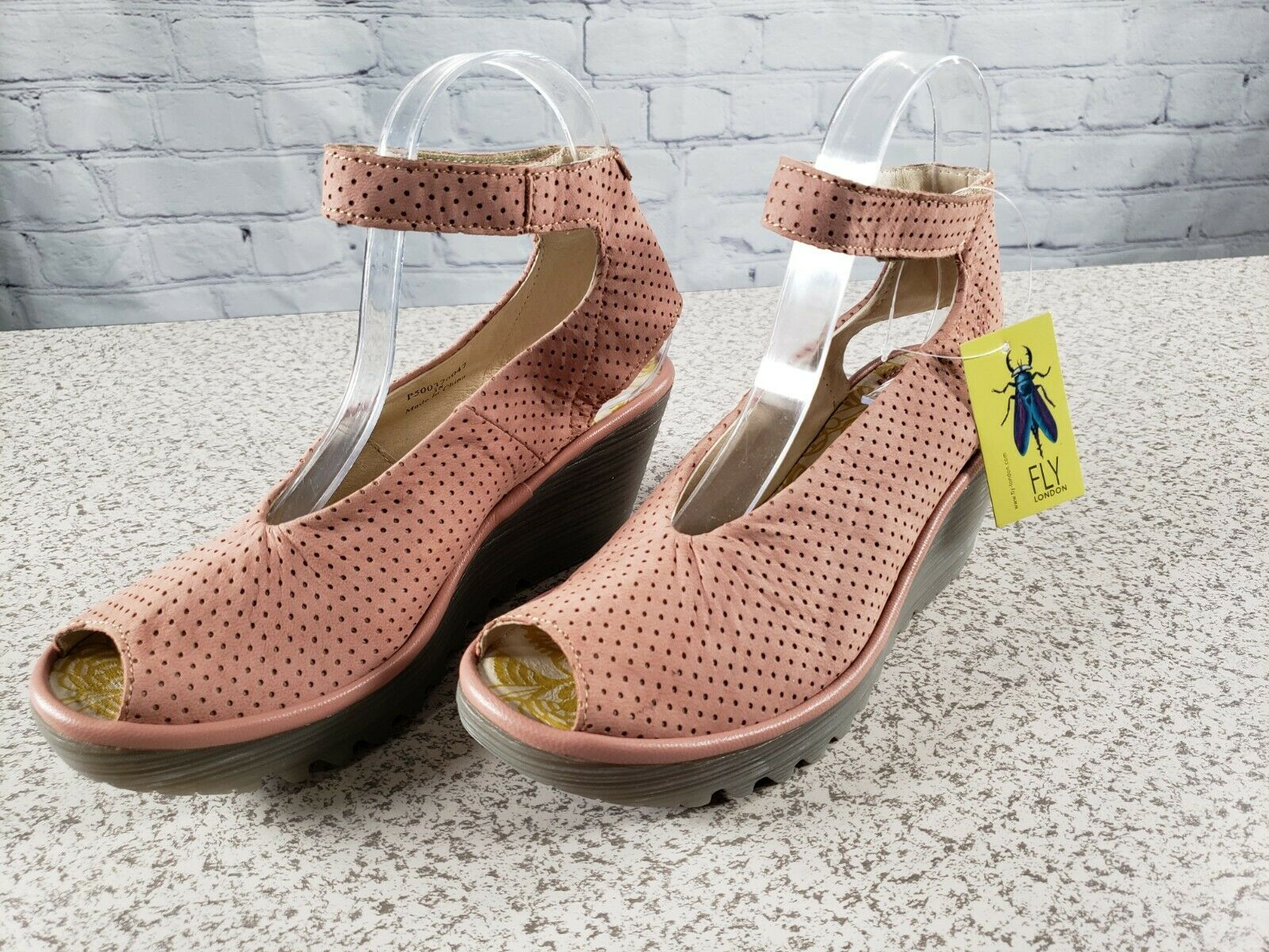 FLY London - Perforated Leather Wedge Sandals - Yala Perf -