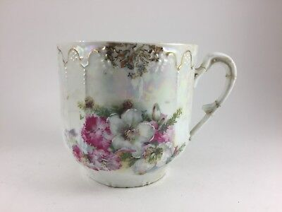 """UNBRANDED WHITE CHINA MUSTACHE CUP WITH PINK AND WHITE FLOWERS 3 1/2"""" HIGH & DIA"""