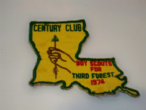 VINTAGE 1974 BOY SCOUTS FOR THIRD FOREST CENTURY CLUB PATCH LOUISIANA SHAPED
