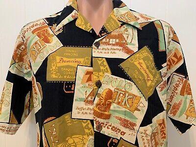 Hawaiian Aloha L Large Button Front Shirt Tiki Lounge Bar Pub Hawaii
