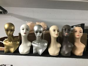 Mannequin heads with human hair/long necks (assorted) NEW&USED