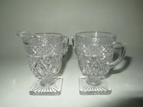 Vintage Imperial Clear Glass Cape Cod Square Footed Cream and Sugar