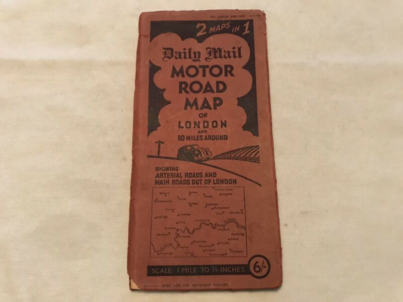 Daily Mail Motor Vintage Road Map Of London And Area