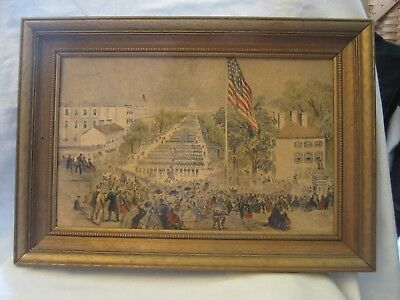 Patriotic America Washington Dc Military Parade Capital Picture Gold Wood Frame