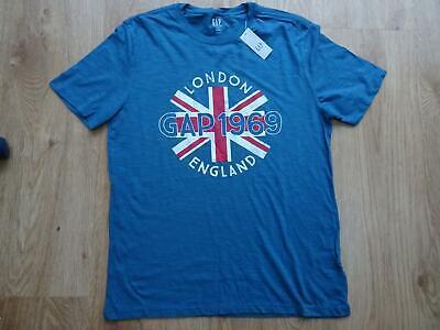 GAP mens blue london england print t shirt top MEDIUM BNWT NEW