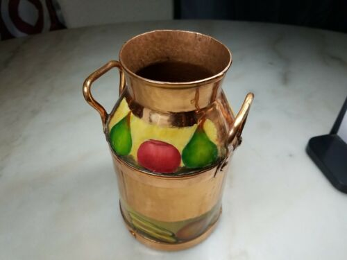 Vintage Decorative Hammered Thick Solid Copper Milk Jug, Hand Painted, 7 Tall - $25.00