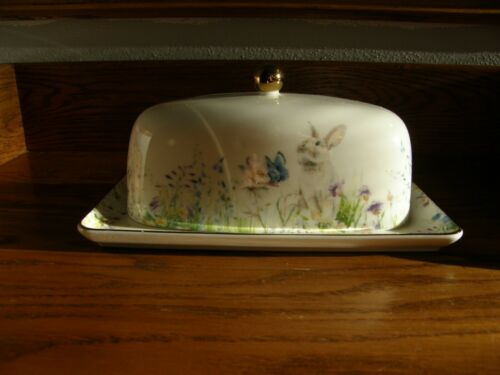 Williams Sonoma Easter Floral Meadow Butter Dish-Spring Decor-Pastel Flowers-New