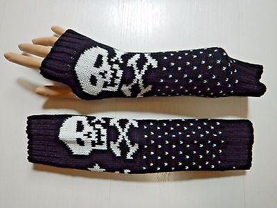 WARM KNIT SKULL ARM WARMERS fingerless gloves mittens goth punk black white Y3 - Black Arm Warmers