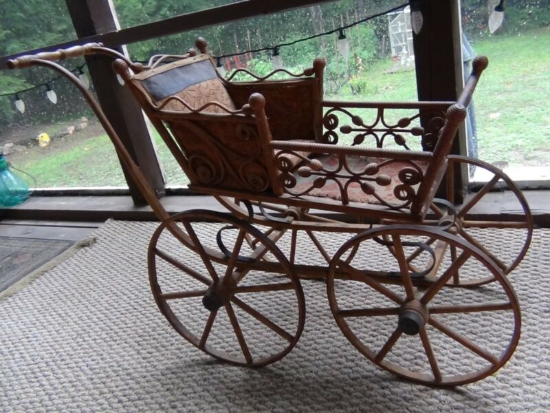 Real Antique Victorian Baby Doll Buggy Carriage Pram Stroller Wood Metal Wheels