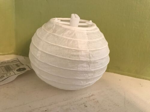 """Lot of 3 White Bamboo Chinese Lanterns with Expanders Approx 4"""" Diameter"""