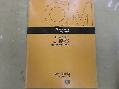 john deere 670g grader operators manual
