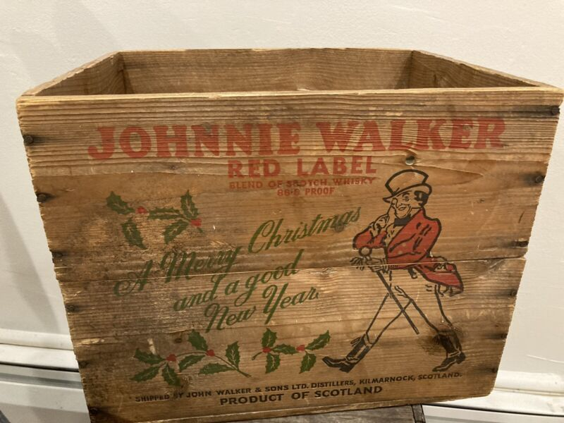 """Vintage Johnny Walker Red Label """"merry Christmas """" Wooden Crate~New York, NY"""