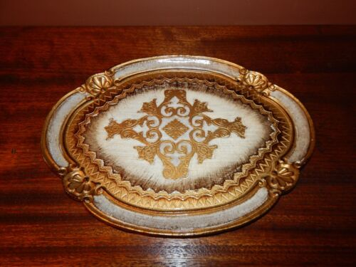 Made in Italy, Handmade & Handpainted gold Leif Platter. Old World Detail.