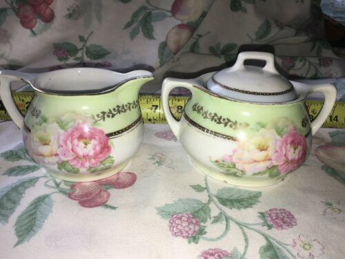 VTG Germany Hand Painted Creamer & Sugar Set White Pink Roses Green Gold Trim