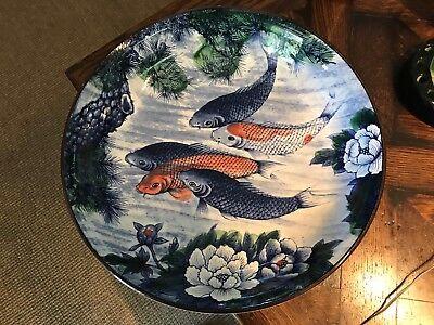 Vintage Japanese Pottery KOI fish BOWL Asian Art Ceramics