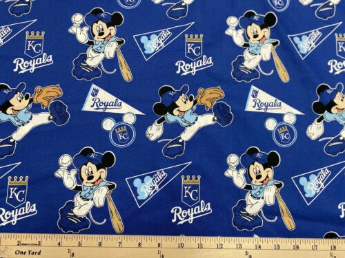 MLB KANSAS CITY ROYALS MICKEY MOUSE, HALF yard  100% Cotton