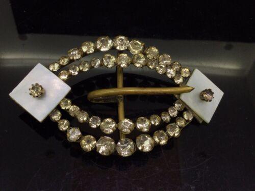 Antique Belt Buckle Black Dot Paste Stones Mother of Pearls Gilt Metal Beautiful