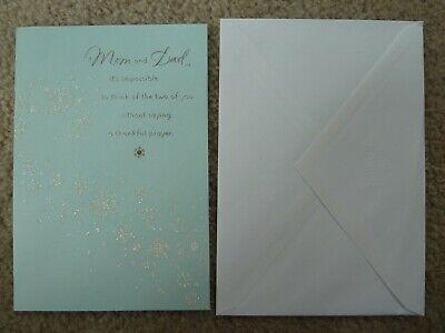 Hallmark Christmas Greeting Card Glitter Snowflakes For Mom & Dad New UNUSED ()