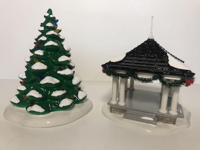 Dept 56 Snow Village Town Square Tree & Gazebo #4016901 MINT