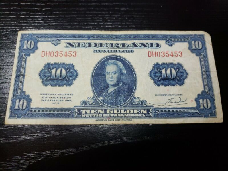 🇳🇱 Netherlands 10 Gulden 1943  P-66  WWII  Banknote Currency Money