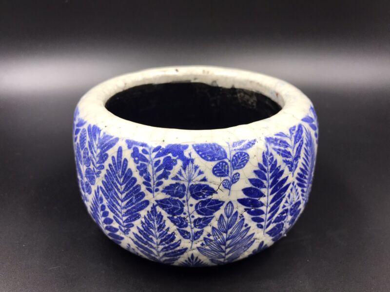 Anthropologie Terracotta Crackle Glaze Small Planter