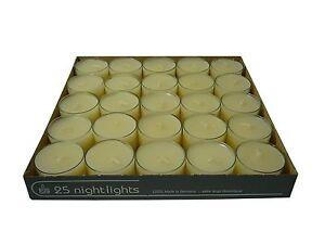 25 Teelichter Acryl Cup Creme Nightlights 8 Std Brennd transparente Hülle Wenzel