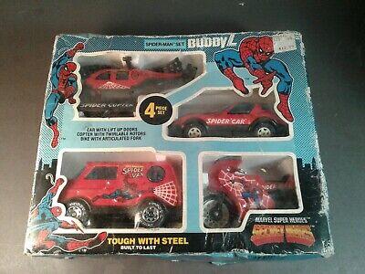 """Vintage 1984 Buddy L Marvel Secret Wars *SPIDER-MAN """"BRUTE"""" 4 VEHICLE SET* W/BOX"""