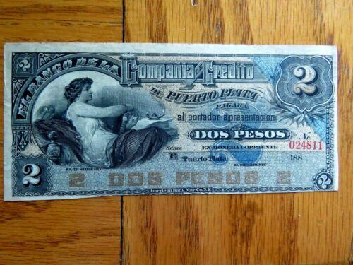 Uncirculated DOMINICAN REPUBLIC BANKNOTE 2 Pesos, P.S104 1880 (Compañía de