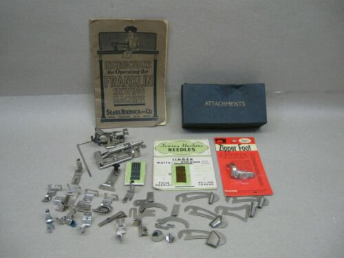 Vtg Franklin VS Treadle Sewing Machine Low Shank Attachments Feet Manual Needles