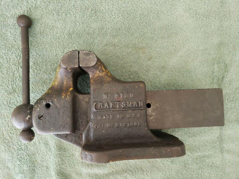 Vintage Craftsman 5180 Bench Machinist Vise USA 1930s 3 1/2 Jaws Long C REED
