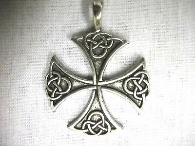 Solid Pewter Celtic Knot (NEW SOLID PEWTER CELTIC INFINITY KNOT MALTESE CROSS TEMPLAR PENDANT ADJ)
