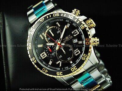 Invicta Mens 45mm PILOT Specialty Chrono Black Dial Gold 2Tone Bracelet SS Watch