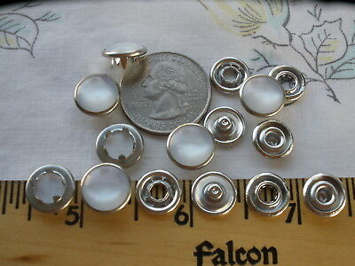 25 Sets White Pearl Snaps 7/16