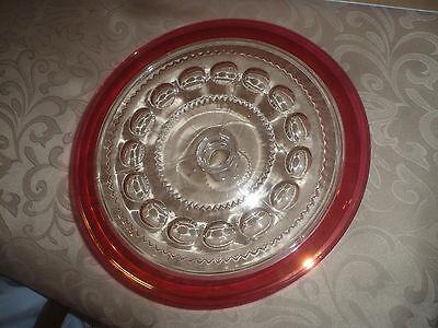 Rare Depression 10 Inch Round Red Rim w/ Clear Glass Pedestal Cake Plate