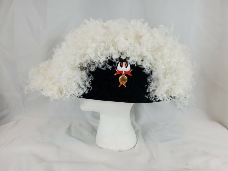 Knights of Columbus 4th Degree Fraternal White Ostrich Feather Chapeau Box 7 1/4