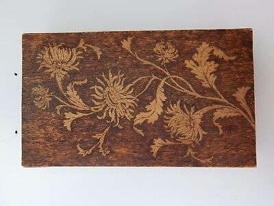 super ART NOUVEAU TREEN    --  POKERWORK  -  GLOVEBOX  22 X 40 X 9 CM mauchline