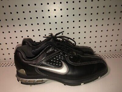 Nike Air Zoom Elite Mens Leather Golf Shoes Spikes Size 9.5 Black Gray Air Zoom Elite Golf Shoe