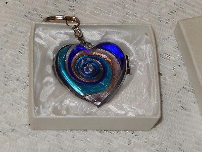 Murano Swirled Glass Heart Locket & Mirror on Keychain/Keyring Molto Bella NIB (Glass Heart Keychain)