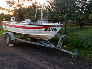 Aluminum boat and new trailer and, 15hp Campbelltown Campbelltown Area Preview