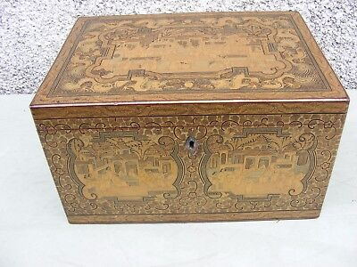 ANTIQUE CHINESE TEA CADDY LACQUERED