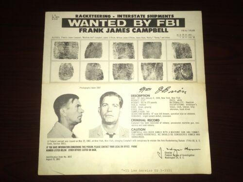 "RARE 1962 FRANK ""MACHINE GUN"" CAMPBELL MAFIA PISTOL LOCAL 824 FBI WANTED POSTER"
