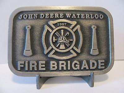 John Deere Waterloo FIRE BRIGADE Pewter Belt Buckle 1987 Employee Ltd Ed 1 of 50