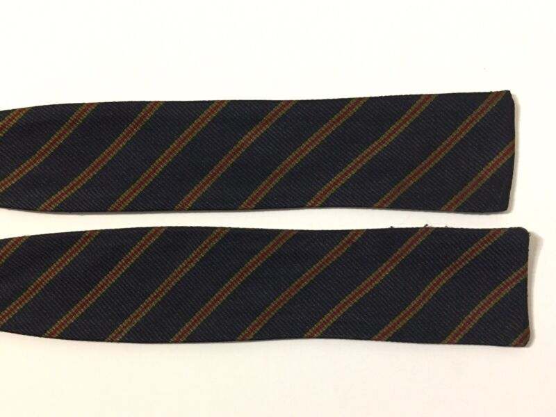 Vintage 60s Striped Silk Self Tie Bow Tie Navy Blue Gold Red Adjustable 14 To 18