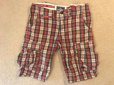SUPERDRY ~ Plaid Cargo Shorts Plaid ~ Red / Navy / Khaki ~ SMALL