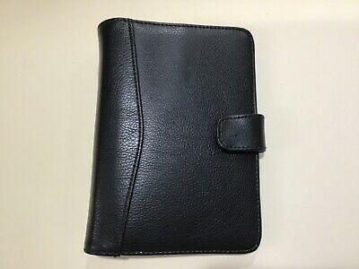 Planner Compact Black Leather W Snap Closer 6 Ring 8x6 Organizer 1 Ring