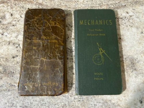 Two vintage 1940s Mechanics Vest Pocket Reference Book - Wolfe & Phelps