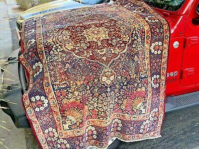 Auth: 19th C Antique Lavar Botanical Art FINE Wool BEAUTY 5x8 NR