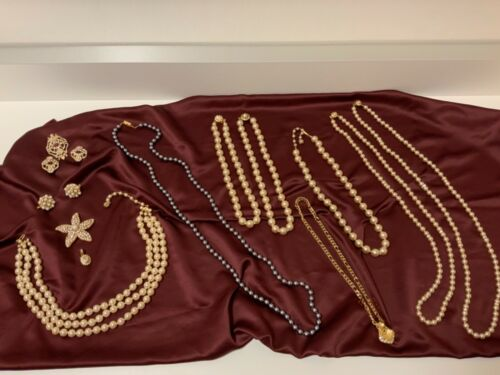 Vintage Lot of 15 Faux Pearl Necklaces Jewellery Joan Rivers & Unsigned High End