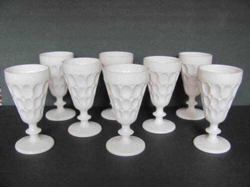JEANNETTE PINK MILK GLASS THUMBPRINT FOOTED GOBLETS - SET OF 8